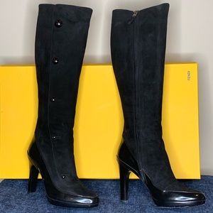 FENDI BLACK SUEDE TALL BOOTS